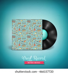 Realistic long-playing (LP) vinyl record. Vintage vector vinyl  gramophone record with cover mockup . Creative musical pattern. Illustration for banner, flyer, poster, billboard music concerts