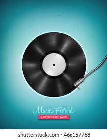 Realistic long-playing (LP) vinyl record. Vintage vector vinyl gramophone record . Retro music backdrop. Musical illustration for banner, flyer, advertisement, poster, billboard music concerts.