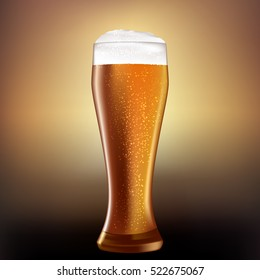 Realistic looking beer glass with white foam. Golden looking drink.