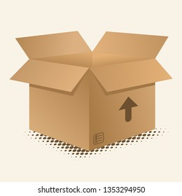 Realistic looking Packaging Brown Carton Box with this side up arrow mark and content check-mark list icon vector element design illustration. - Vector