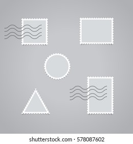 Realistic looking postage stamps, isolated on grey background, vector illustration. Easy to use for your design with transparent shadows.