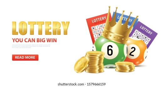 Realistic lottery composition with editable text read more button and images of golden coins and lotto balls vector illustration