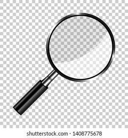 Realistic loupe sign icon in transparent style. Magnifier vector illustration on isolated background. Search business concept.