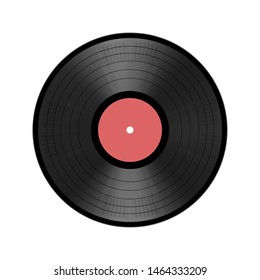 realistic LP vinyl disc isolated on white background