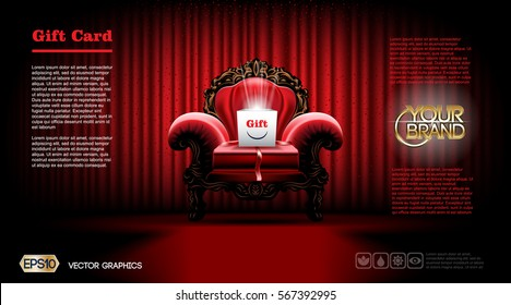 Realistic Luxury armchair Furniture. Gift card or Voucher Discount Coupon template mockup. Vector 3d illustration