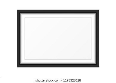 Realistic Luxury White Black Picture Frame Isolated On White Background. Vector Illustration