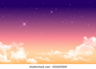 Realistic magical sky, sun and clouds in soft pastel pink and blue colors. Fantastic magic sunny hazy sky background. Pink sunrise, sunset. Vector illustration.