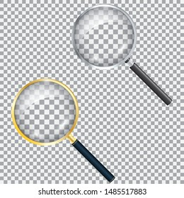 Realistic magnifier. Magnifying glass magnify, zoom tools loupe scrutiny lens optical microscope. Isolated 3d vector