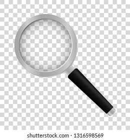 Realistic magnifier on transparent background. Magnifier with black handle. Magnifying glass.