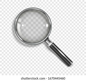 Realistic Magnifying glass with drop shadow on a transparent background - stock vector EPS 10.