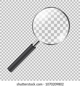 Realistic magnifying glass. Lens vector illustration on a transparent background.