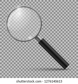 Realistic magnifying glass. Magnification zoom loupe, scrutiny microscope magnify lens. Detective tool isolated vector mockup