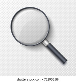 Realistic magnifying glass, magnifier or hand lens for optical magnification isolated on white background. Elegant tool used to magnify image or text. Modern design element. Vector illustration.