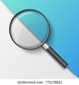 Realistic magnifying glass, magnifier or hand lens for optical magnification isolated on paper background. Elegant tool used to magnify image or text. Modern design element. Vector illustration.
