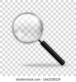 Realistic magnifying glass. Magnifier mockup on transparent background.