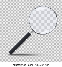 Realistic magnifying glass on transparent background. 3d magnifier loupe with glass and dark handle. Search and inspection symbol. Bussiness concept. Sciene or school supplies. Vector illustration