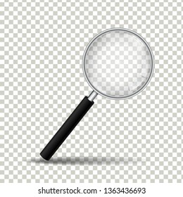 Realistic magnifying glass on transparent background, Vector Illustration
