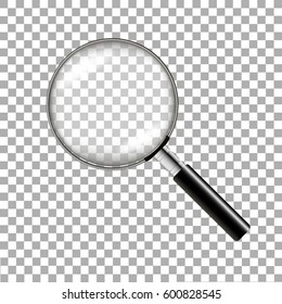 Realistic magnifying glass on transparent background. Vector illustration