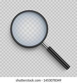 Realistic Magnifying glass with shadow on a transparent background - stock vector.