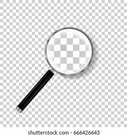 Realistic Magnifying Glass Vector. Isolated On Checkered Background Illustration. Magnifying Glass Object For Zoom And Tool With Lens For Magnifying