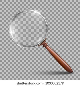 Realistic magnifying glass with a wooden handle – stock vector