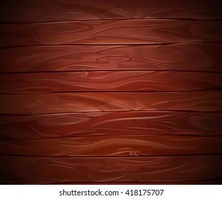 Realistic Mahogany wooden vector background. Abstract dark wood board