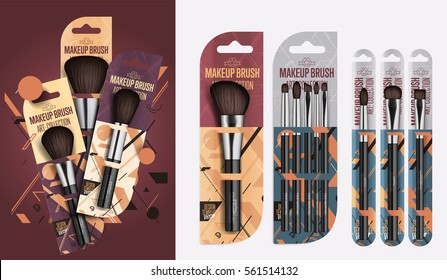 Realistic makeup brush set isolated vector illustration. Fashion and beauty professional makeup artist brush in package, decorative cosmetic concealer powder tool