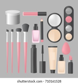 Realistic makeup and cosmetics products and tools. Lipstic, brushes, eyeshadow mascara, powder and mascara vector