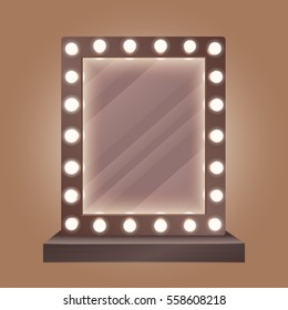 Realistic makeup mirror with bulbs vector illustration