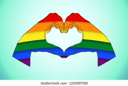 Realistic man hands forming a heart painted as the rainbow flag symbolizing gay love and Gay Pride Movement.Hands showing heart sign as sign LGBT against homosexual discrimination.Homosexuality emblem
