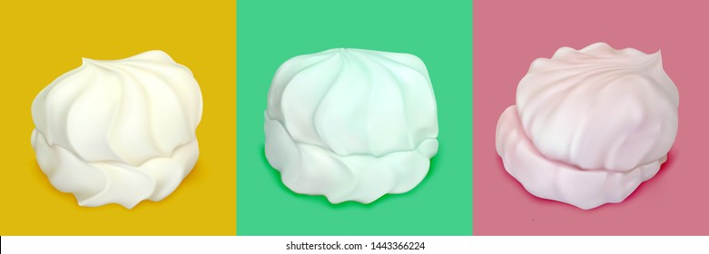 Realistic marshmallows on a colored background.