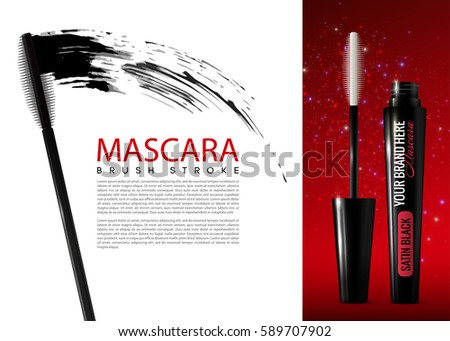 realistic mascara cosmetic advertising template opened のベクター