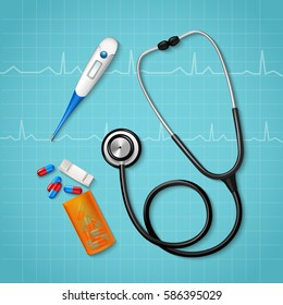 Realistic medical equipment composition with binaural stethoscope pills pack and thermometer on cardiac waveforms clinical background vector illustration