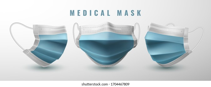 Realistic medical face mask. Details 3d medical mask. Vector illustration.