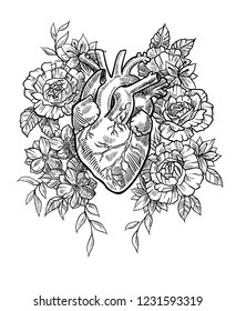 Realistic medical heart surrounded by wildflowers