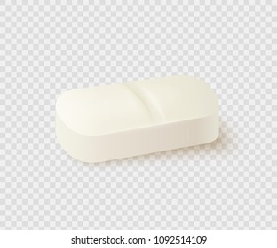 Realistic medical pill isolated on white background. Medicine and drugs. Vector illustration.
