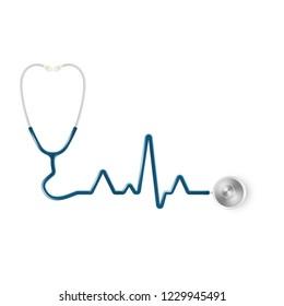 Realistic medical stethoscope. Medical equipment, medicine template. EPS 10