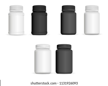 Realistic medicine bottles set. Pharmaceutical and healthy product mockup template. Black and white colour plastic jars for capsule, pills, vitamin. Vector illustration.
