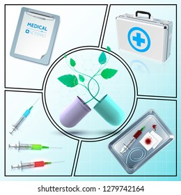 Realistic medicine composition with medical box notepad capsule with plant syringe bloody bandage tourniquet in metal sterilizer isolated vector illustration