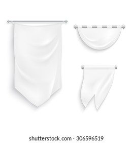 Realistic medieval style banners template with shadows on white background