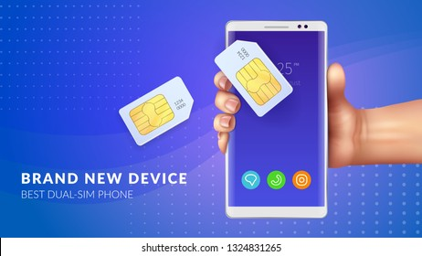Realistic memory card sim background with brand new device best dual sim phone headline vector illustration