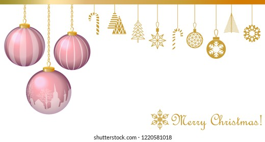 Realistic Merry Christmas greeting card. Minimal design with Xmas balls and other decorative golden elements. Fir trees, gift boxes, gingerbread, snowflakes. On white background.