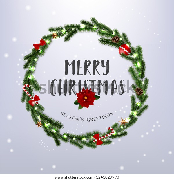 Christmas Wreath Vector.Realistic Merry Christmas Wreath Vector Illustration Stock