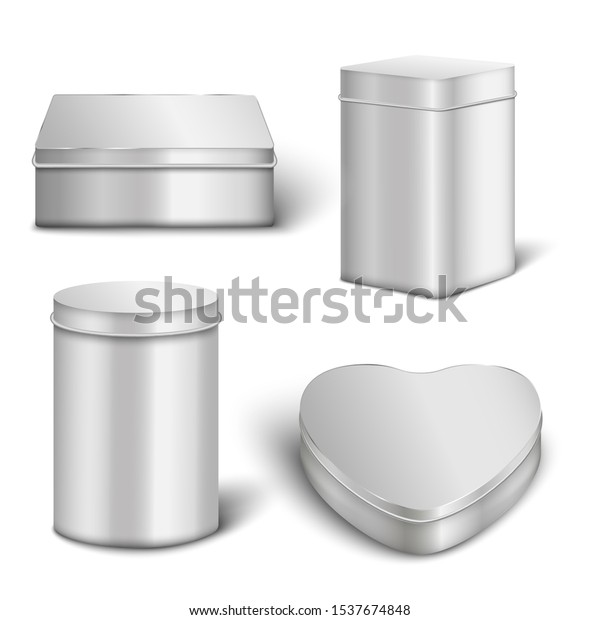 Realistic metal box mockup set with different shapes - rectangle, cylinder and heart isolated on white background. Shiny silver steel container collection - vector illustration.