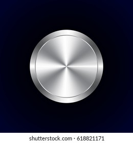 Realistic metal button with circular processing on black background. Vector illustration