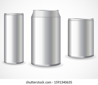 Realistic metal cans. Aluminum bear soda and lemonade cans, energy drink blank mockup.