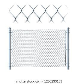 Realistic metal chain link fence. metal mesh on isolated on whit