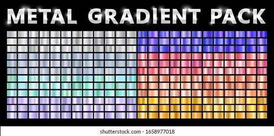 Realistic metal chrome gradient big texture pack. Shiny metal foil gradient set. Vector illustration