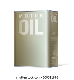Realistic metal containers for motor oil. Product Packing. Vector Illustration