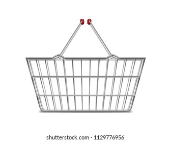 Realistic metal empty supermarket shopping basket side view isolated on white. Basket market cart for sale with handles. vector illustration